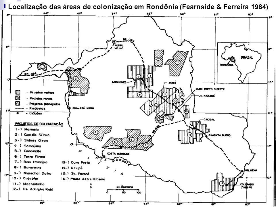 Localização das áreas de colonização em Rondônia (Fearnside & Ferreira 1984)
