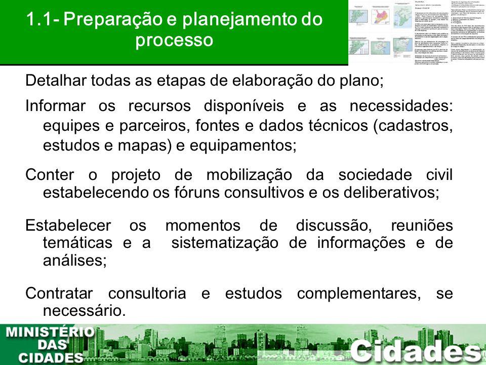 1.1- Preparação e planejamento do processo