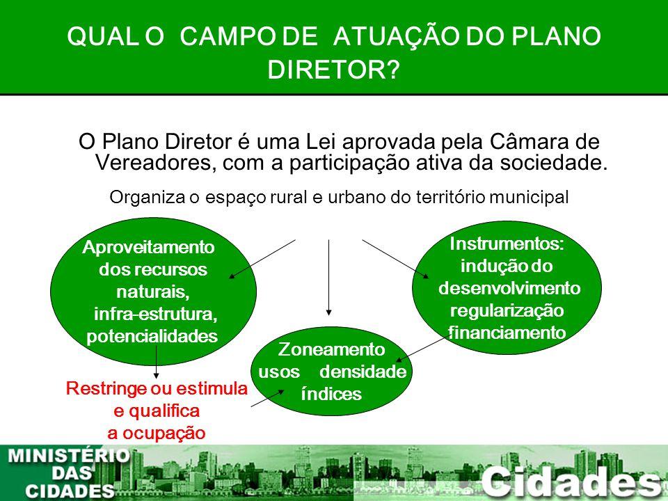 QUAL O CAMPO DE ATUAÇÃO DO PLANO DIRETOR