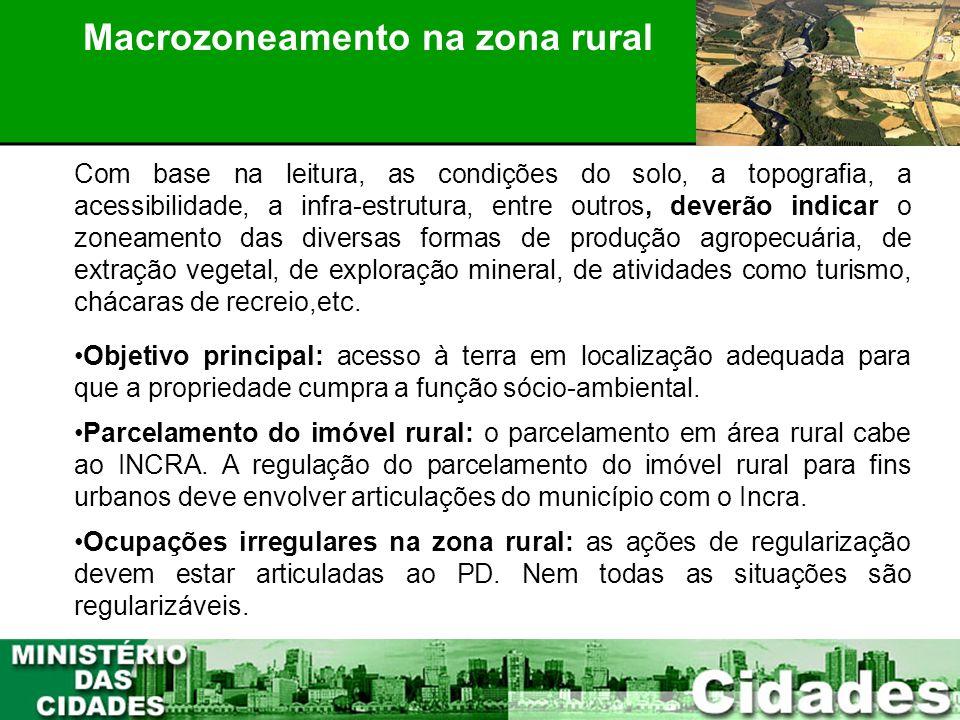 Macrozoneamento na zona rural PLANEJAMENTO PARTICIPATIVO