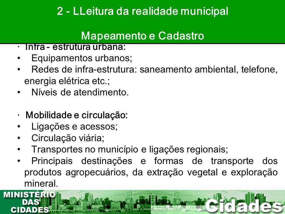 2 - LLeitura da realidade municipal
