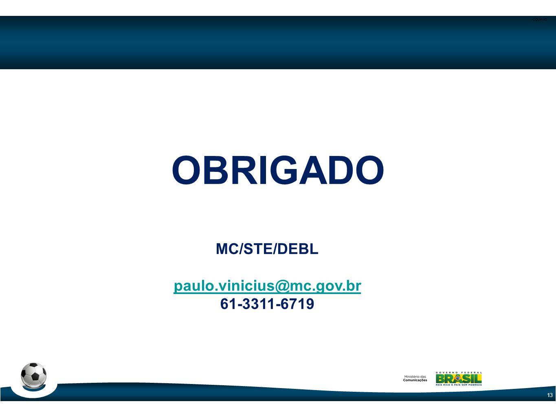 OBRIGADO MC/STE/DEBL paulo.vinicius@mc.gov.br 61-3311-6719 Pauta:
