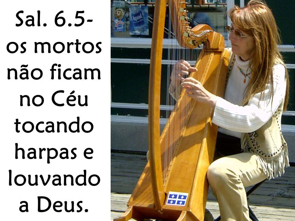 Sal. 6.5- os mortos não ficam no Céu tocando harpas e louvando a Deus.