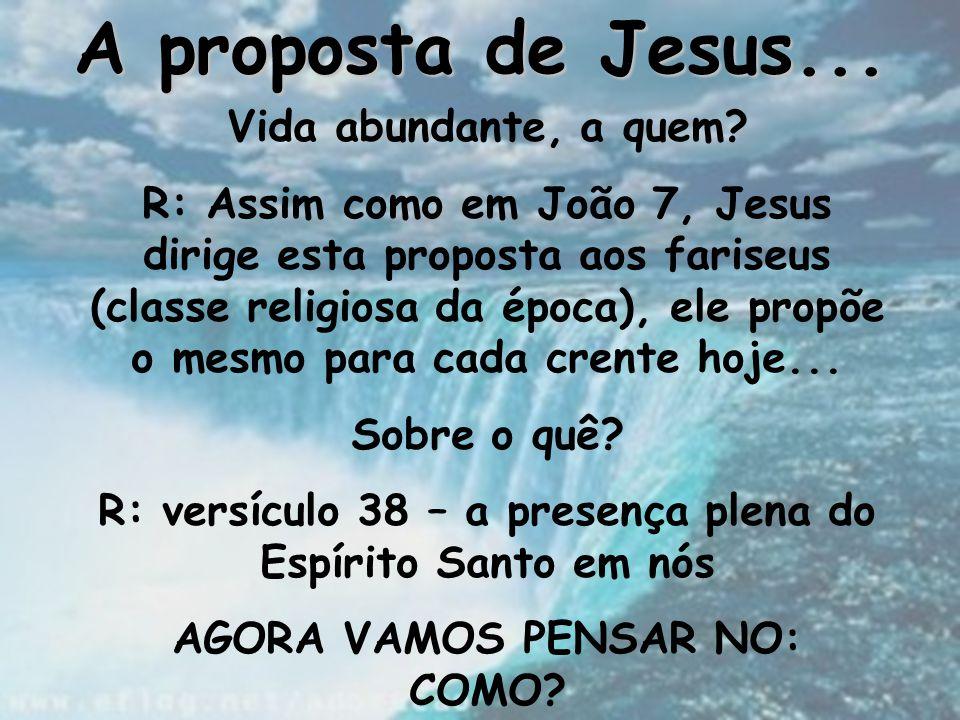 A proposta de Jesus... Vida abundante, a quem