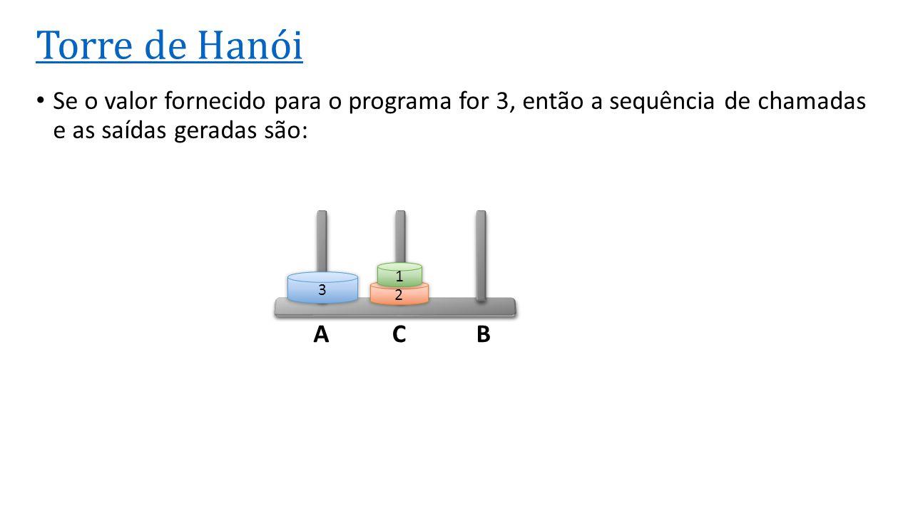 Torre de Hanói Se o valor fornecido para o programa for 3, então a sequência de chamadas e as saídas geradas são: