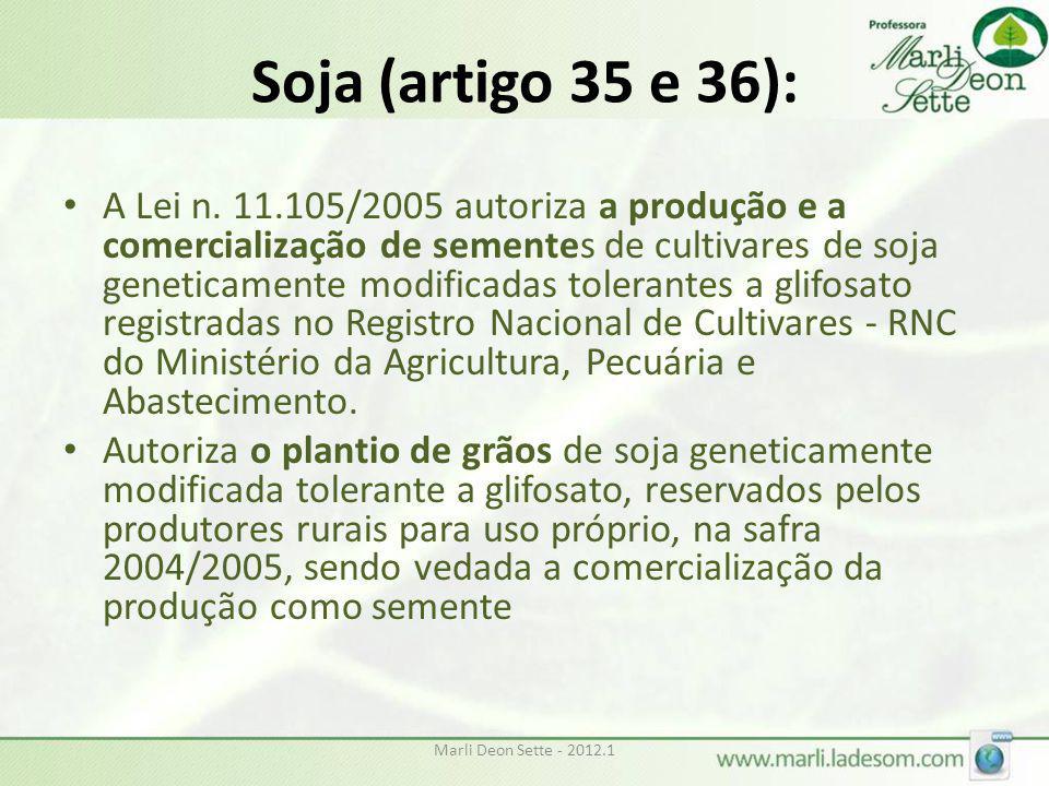 Soja (artigo 35 e 36):