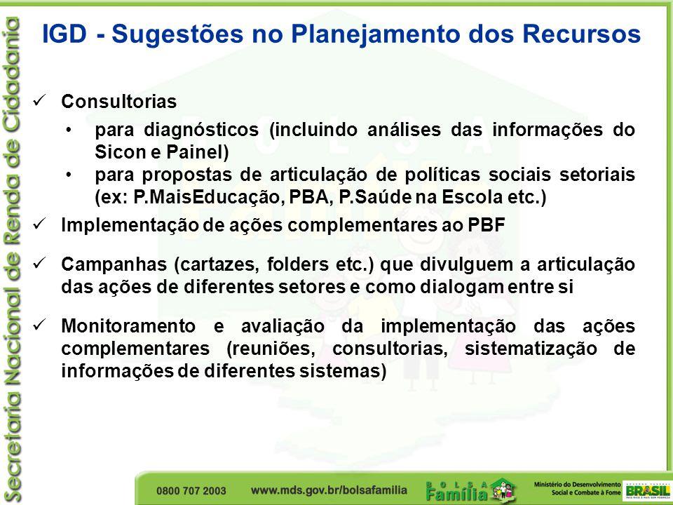 IGD - Sugestões no Planejamento dos Recursos