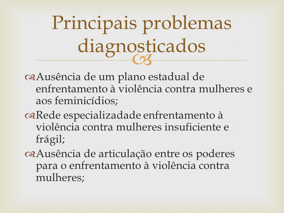 Principais problemas diagnosticados