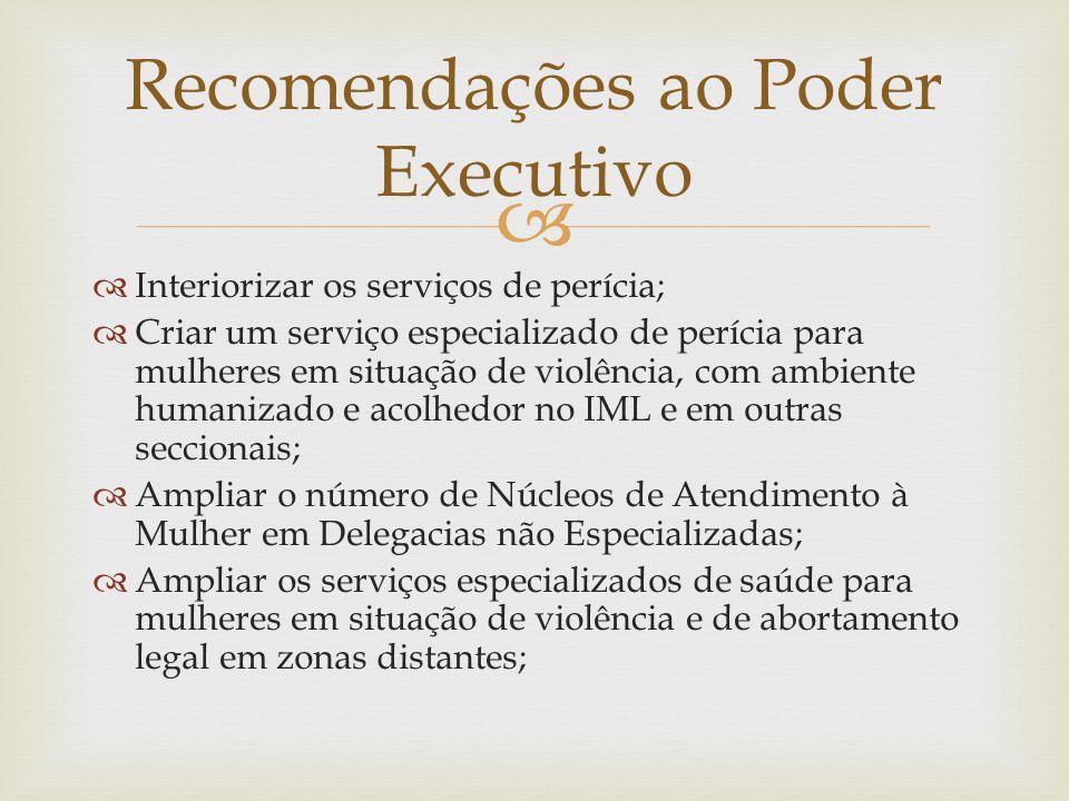 Recomendações ao Poder Executivo