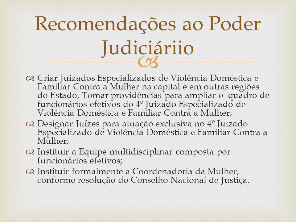 Recomendações ao Poder Judiciáriio