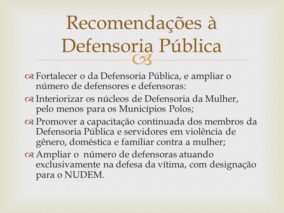 Recomendações à Defensoria Pública