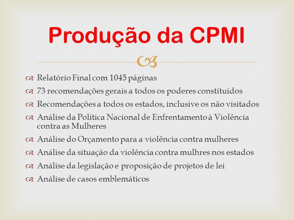 Produção da CPMI Relatório Final com 1045 páginas