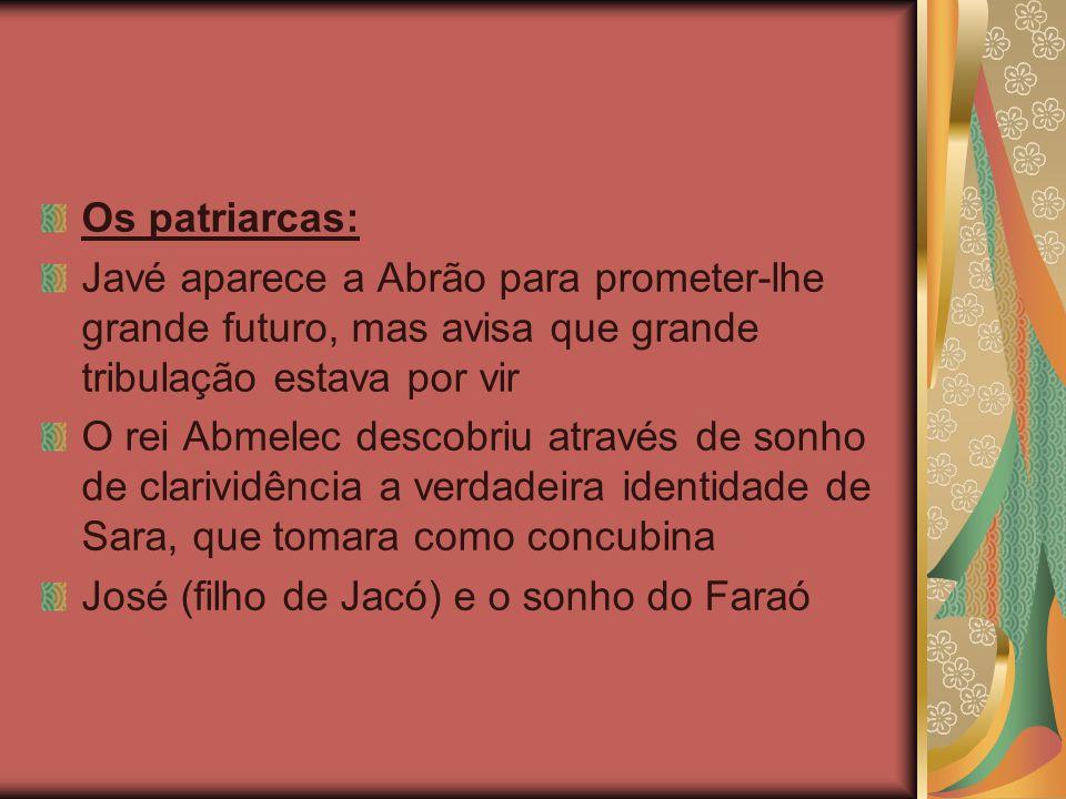 Os patriarcas: Javé aparece a Abrão para prometer-lhe grande futuro, mas avisa que grande tribulação estava por vir.