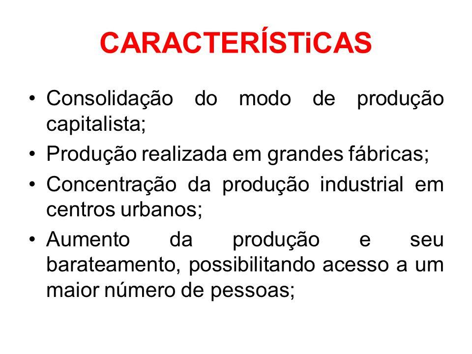 CARACTERÍSTiCAS Consolidação do modo de produção capitalista;