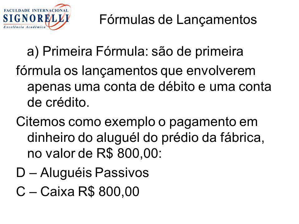 Fórmulas de Lançamentos