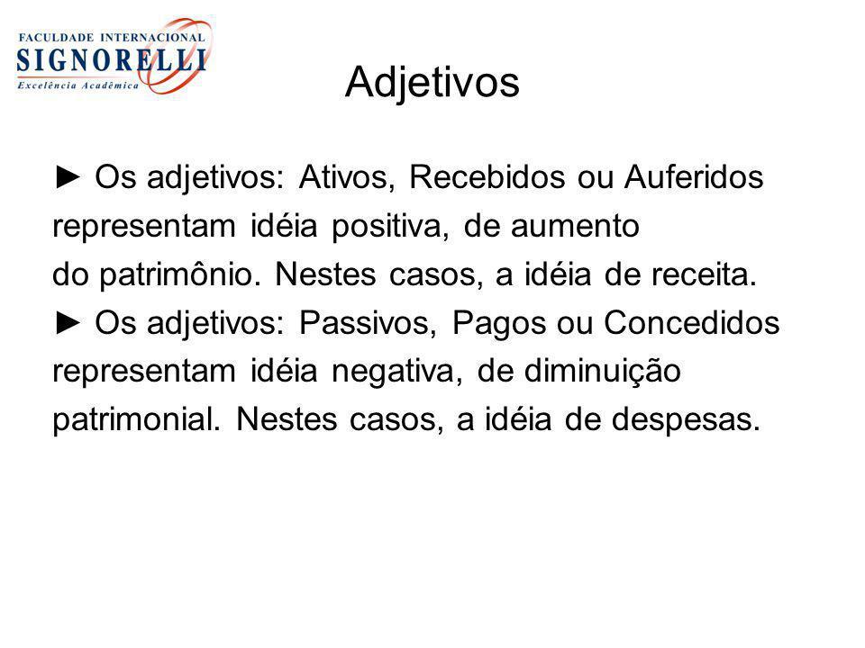 Adjetivos ► Os adjetivos: Ativos, Recebidos ou Auferidos