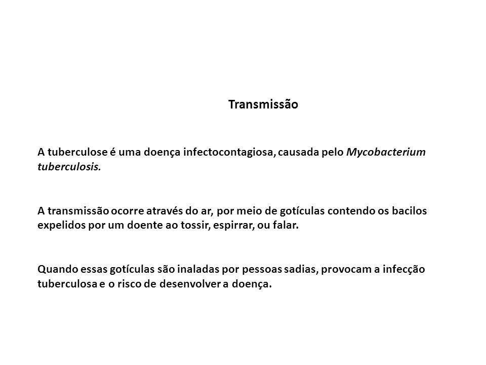 Transmissão A tuberculose é uma doença infectocontagiosa, causada pelo Mycobacterium tuberculosis.