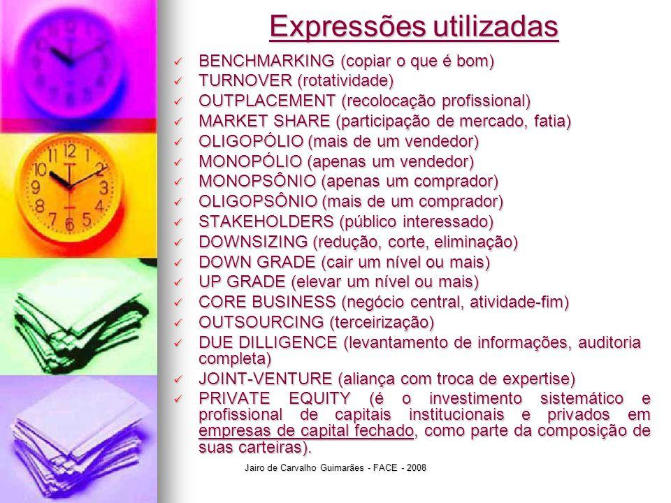 Expressões utilizadas