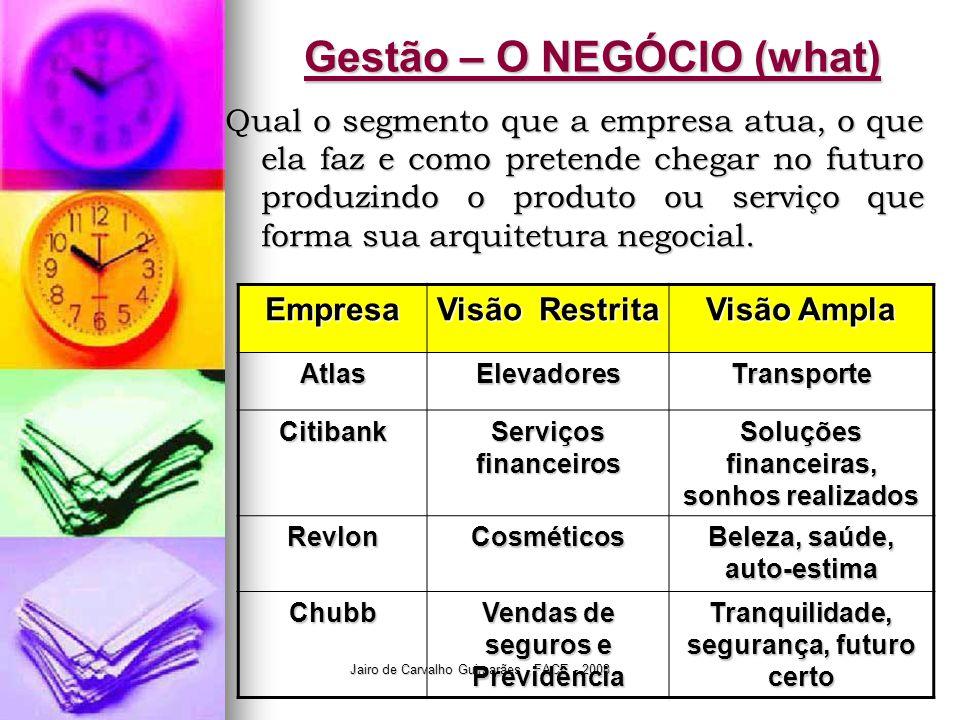 Gestão – O NEGÓCIO (what)
