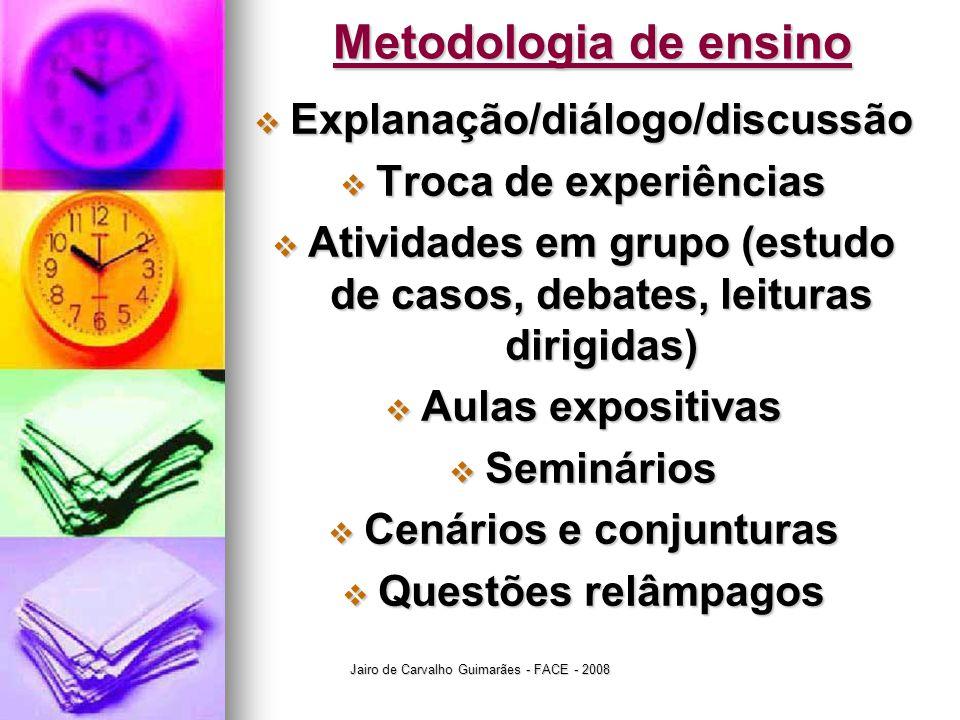 Metodologia de ensino Explanação/diálogo/discussão