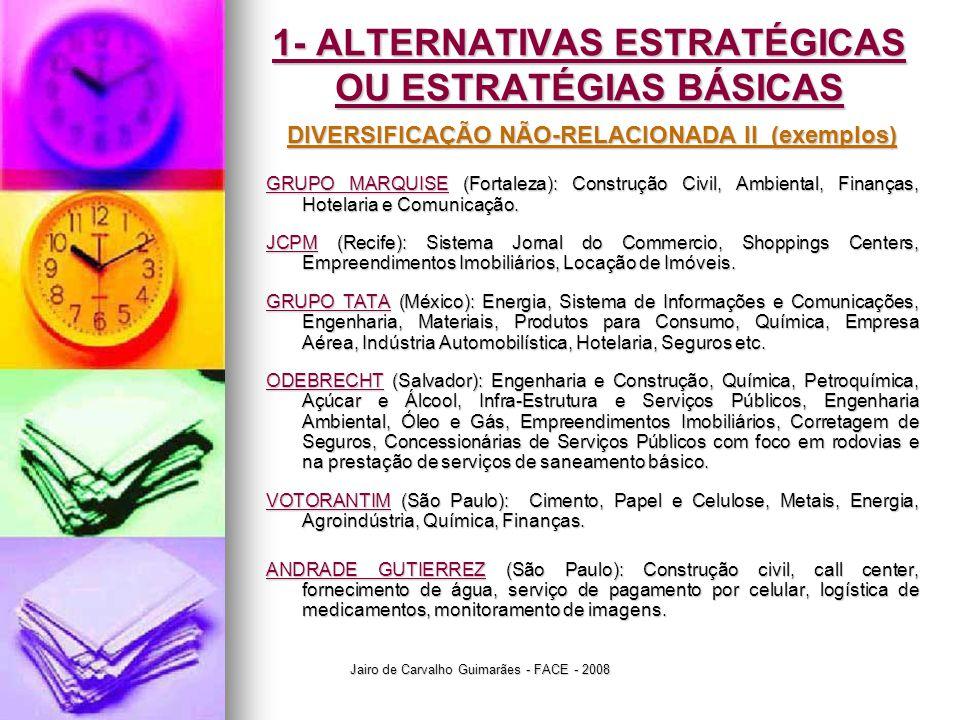 1- ALTERNATIVAS ESTRATÉGICAS OU ESTRATÉGIAS BÁSICAS