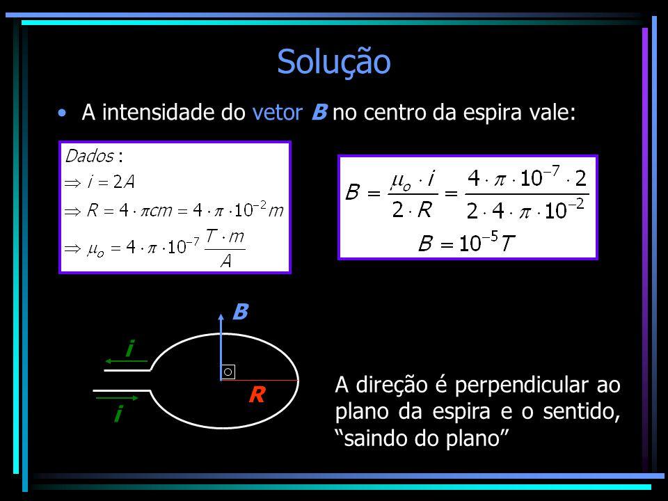 Solução A intensidade do vetor B no centro da espira vale: B i