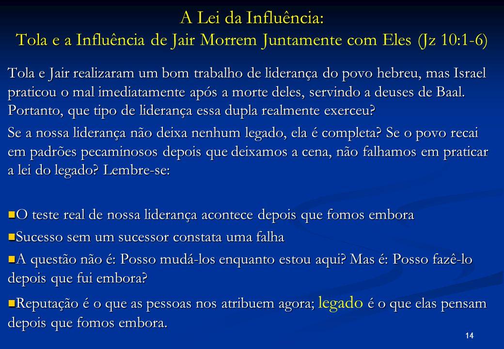 A Lei da Influência: Tola e a Influência de Jair Morrem Juntamente com Eles (Jz 10:1-6)