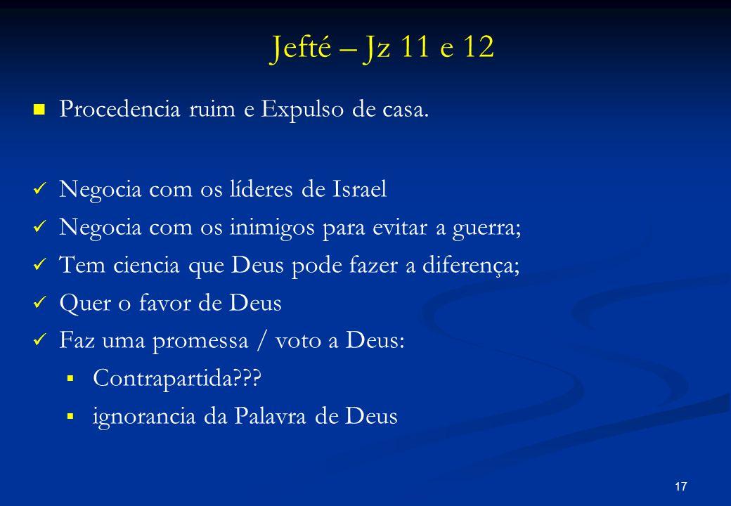 Jefté – Jz 11 e 12 Procedencia ruim e Expulso de casa.