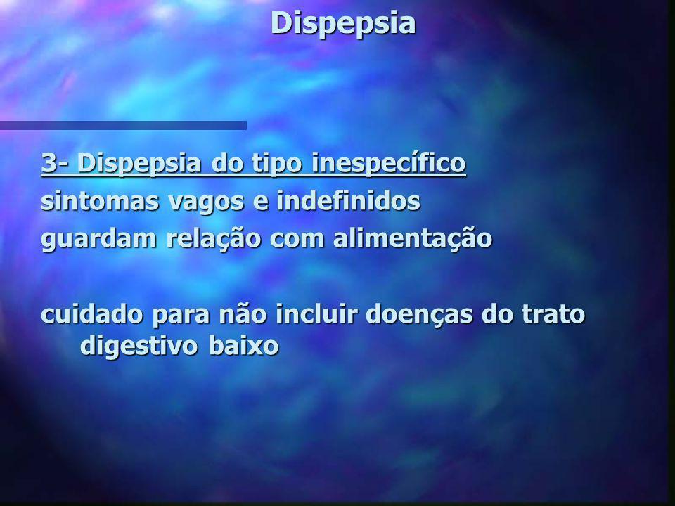 Dispepsia 3- Dispepsia do tipo inespecífico