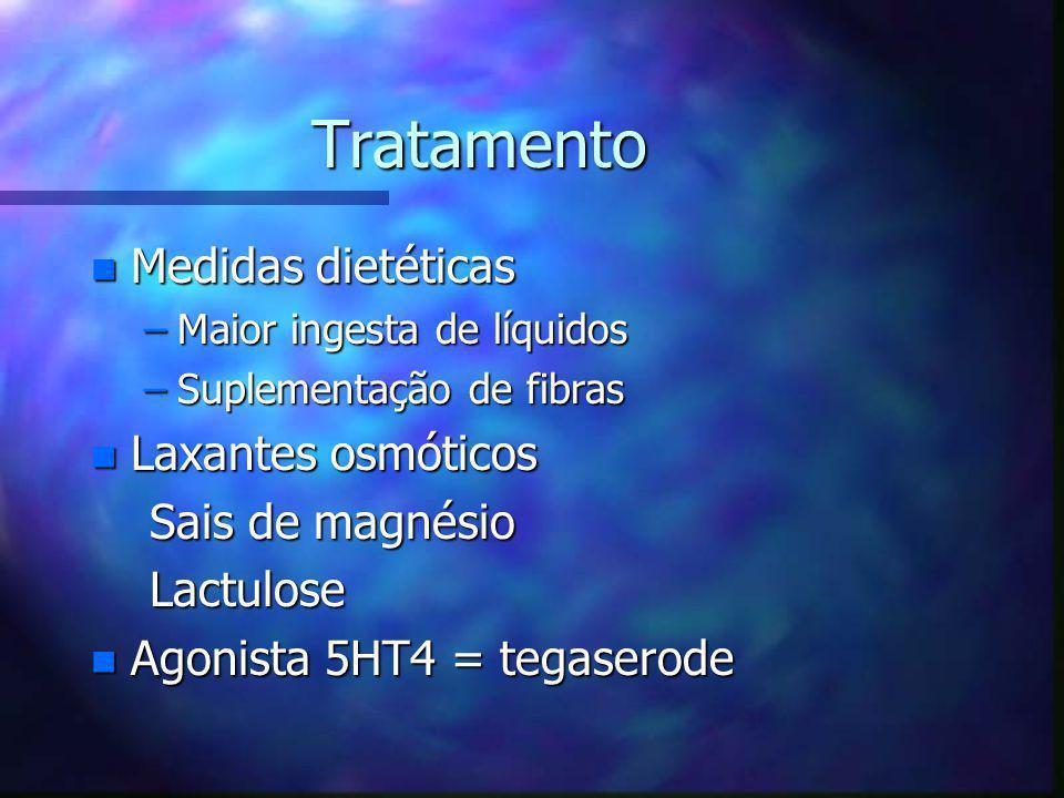Tratamento Medidas dietéticas Laxantes osmóticos Sais de magnésio