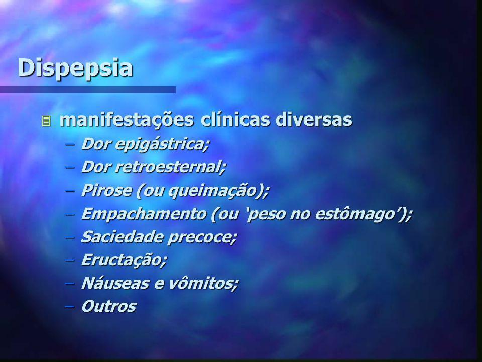 Dispepsia manifestações clínicas diversas Dor epigástrica;