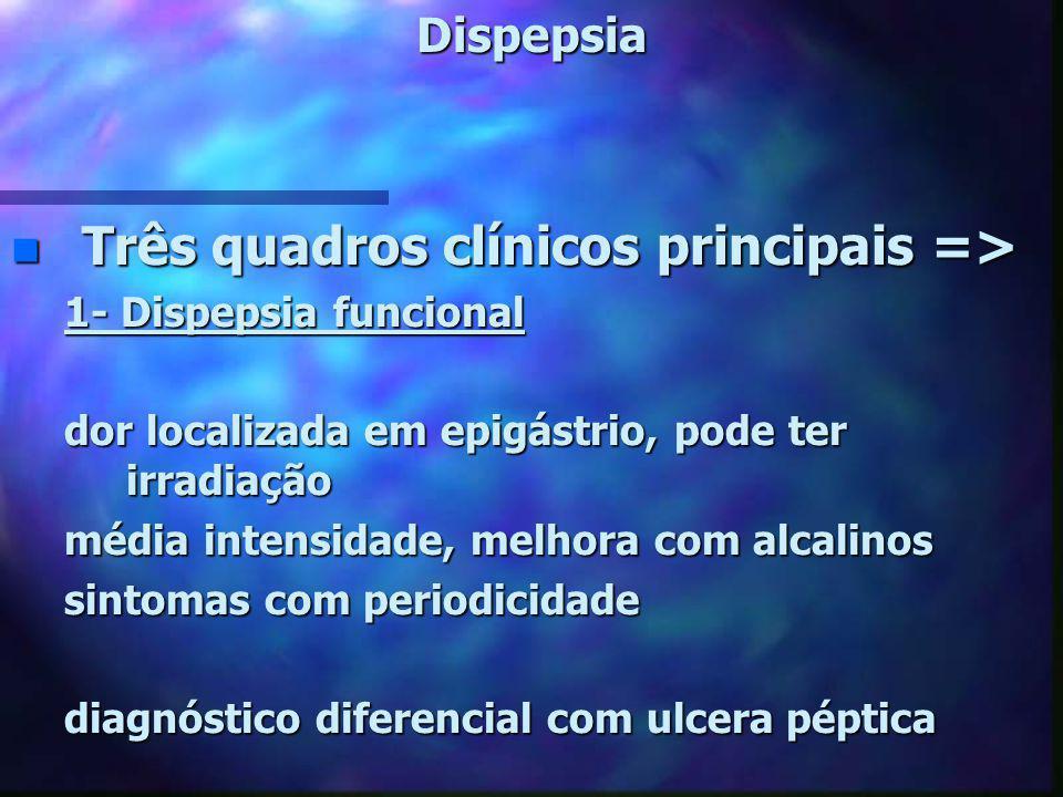 Três quadros clínicos principais =>