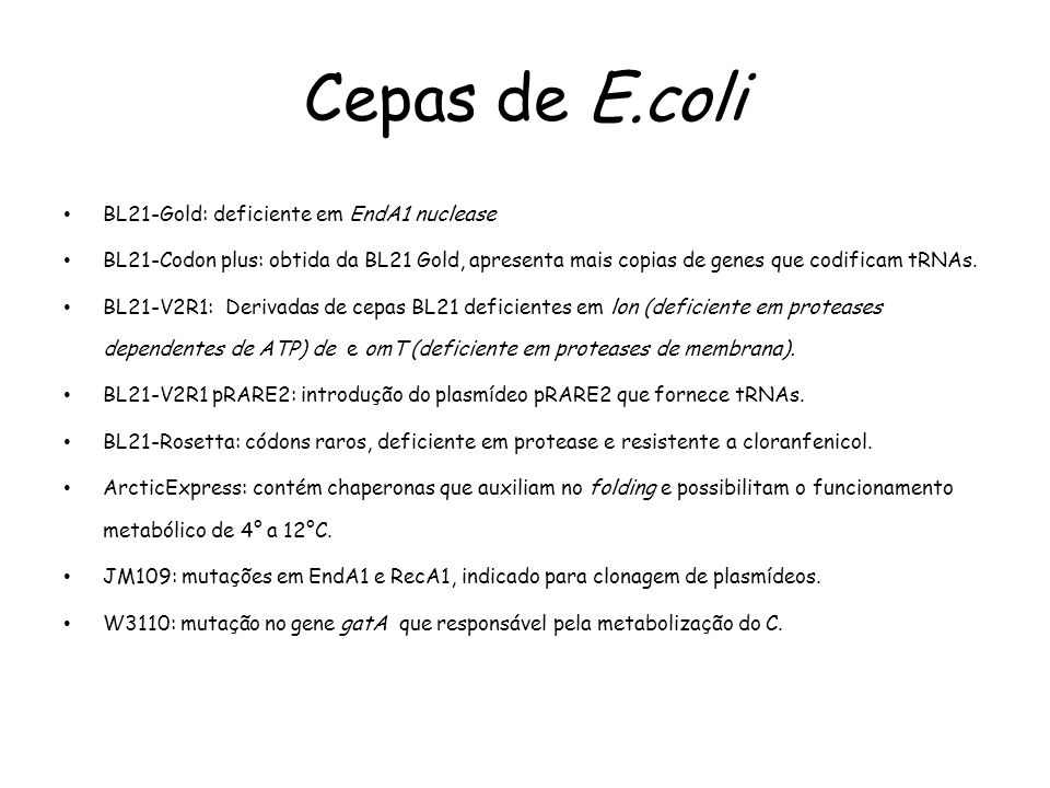 Cepas de E.coli BL21-Gold: deficiente em EndA1 nuclease