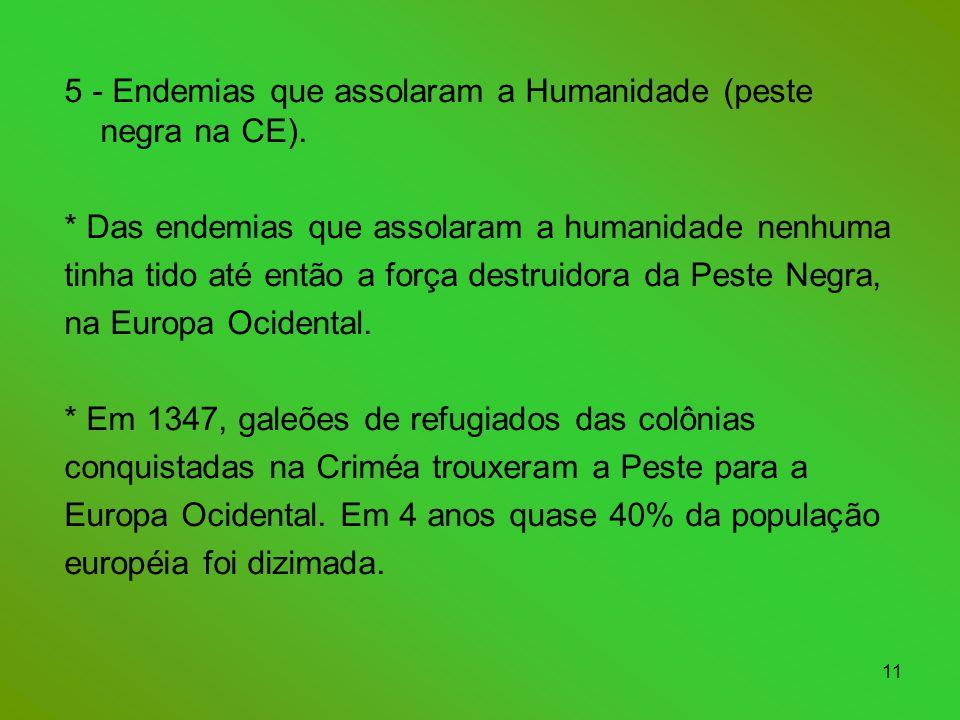 5 - Endemias que assolaram a Humanidade (peste negra na CE).