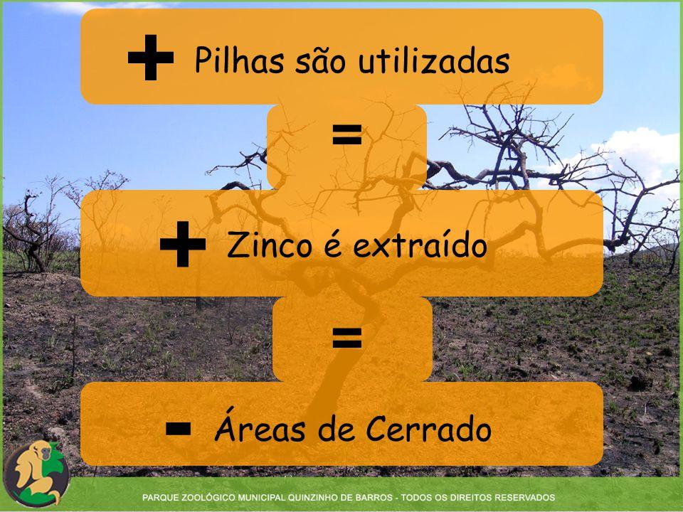+ Pilhas são utilizadas Zinco é extraído Áreas de Cerrado = + = -