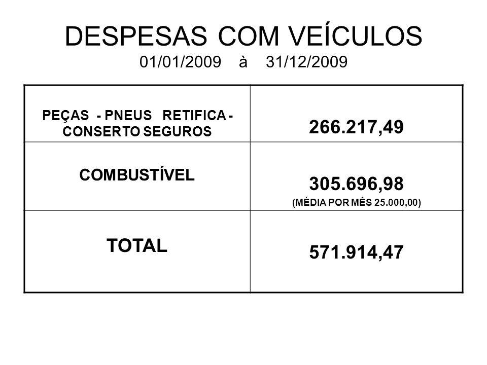 DESPESAS COM VEÍCULOS 01/01/2009 à 31/12/2009
