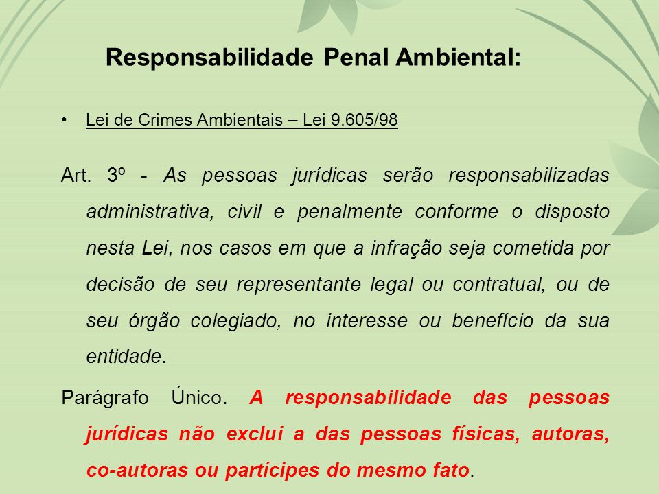 Responsabilidade Penal Ambiental: