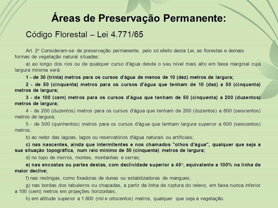 Áreas de Preservação Permanente: