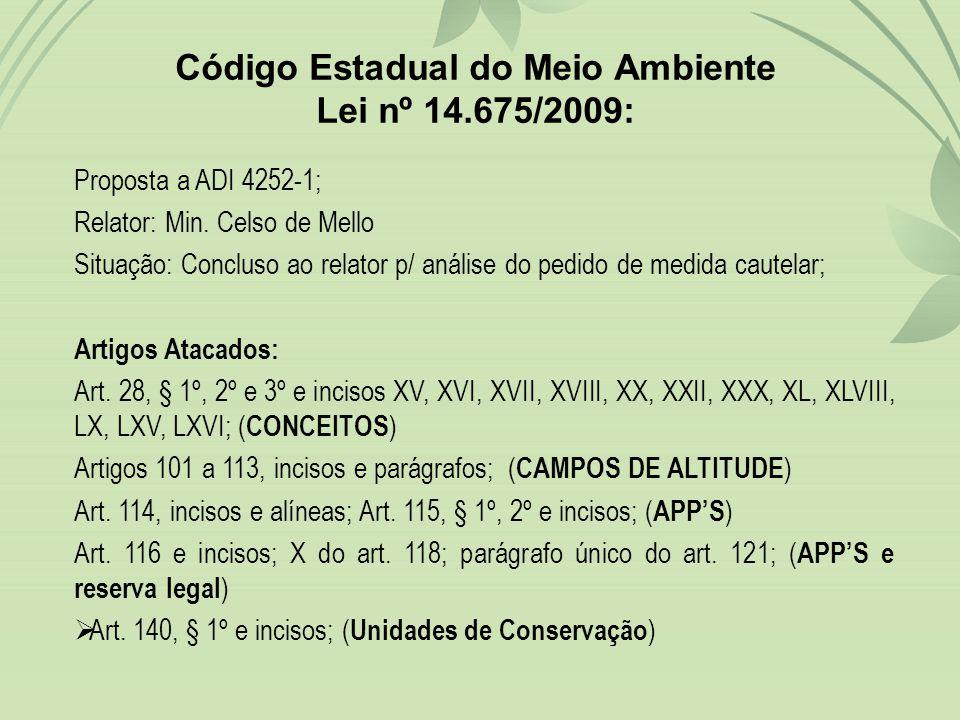 Código Estadual do Meio Ambiente Lei nº 14.675/2009: