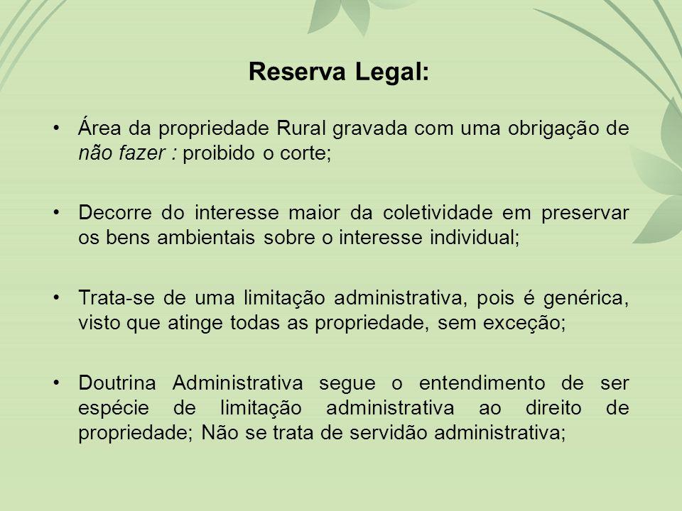 Reserva Legal: Área da propriedade Rural gravada com uma obrigação de não fazer : proibido o corte;