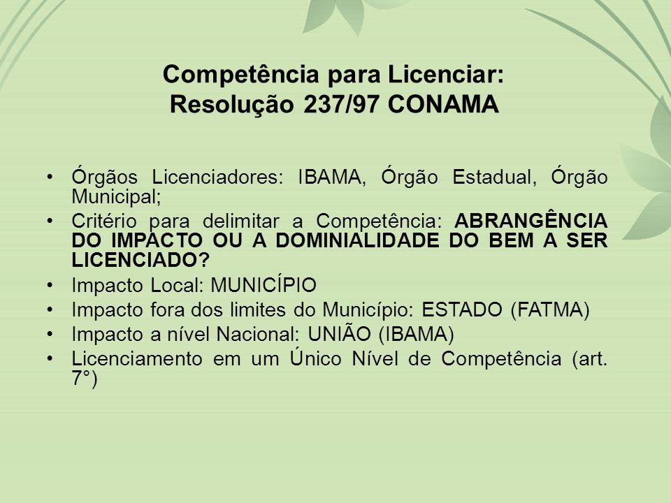 Competência para Licenciar: Resolução 237/97 CONAMA