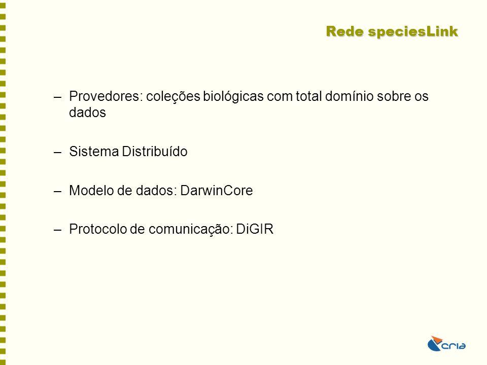 Rede speciesLink Provedores: coleções biológicas com total domínio sobre os dados. Sistema Distribuído.