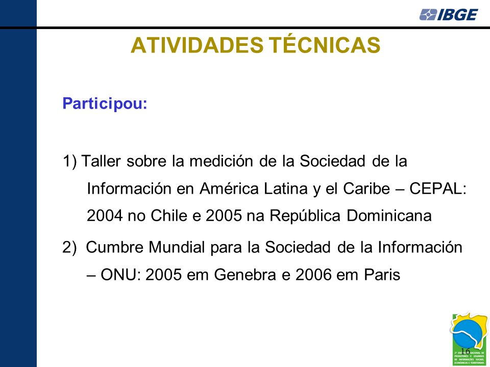 ATIVIDADES TÉCNICAS Participou: