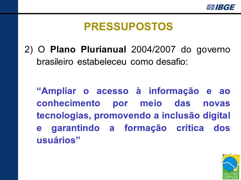 PRESSUPOSTOS 2) O Plano Plurianual 2004/2007 do governo brasileiro estabeleceu como desafio: