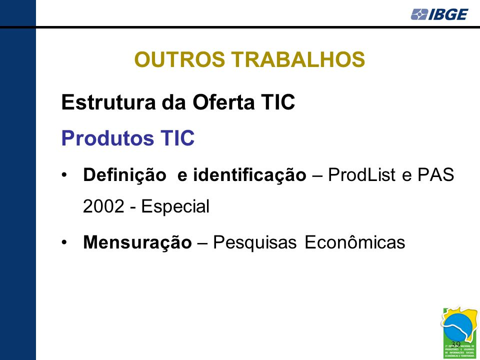 Estrutura da Oferta TIC Produtos TIC