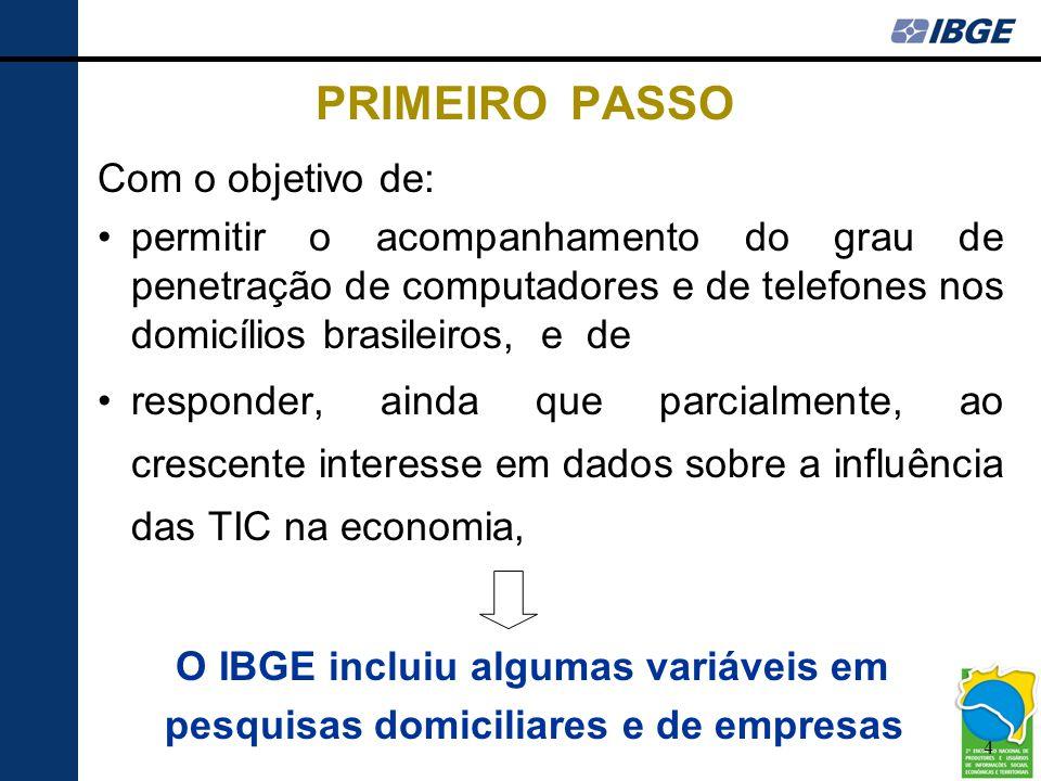 PRIMEIRO PASSO Com o objetivo de: