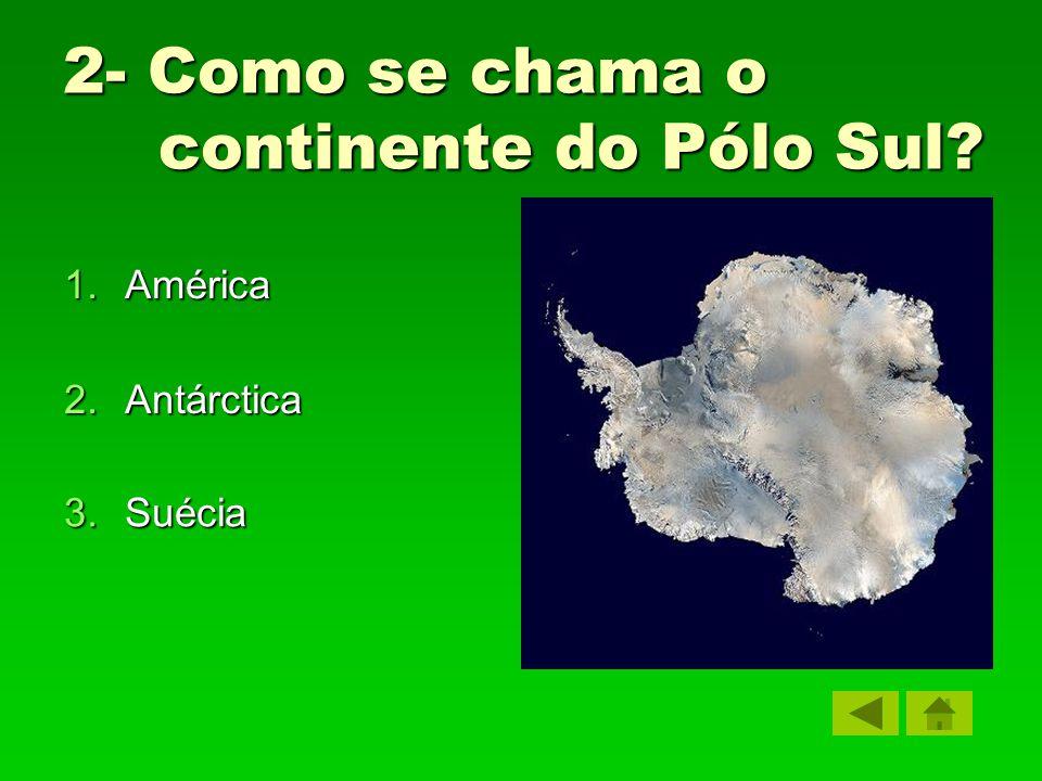 2- Como se chama o continente do Pólo Sul