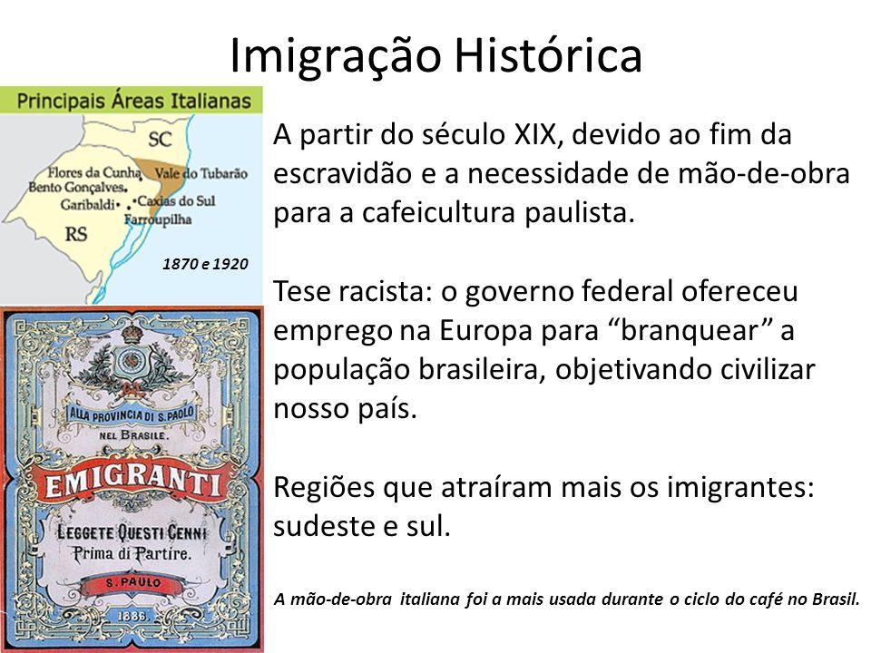Imigração Histórica A partir do século XIX, devido ao fim da escravidão e a necessidade de mão-de-obra para a cafeicultura paulista.