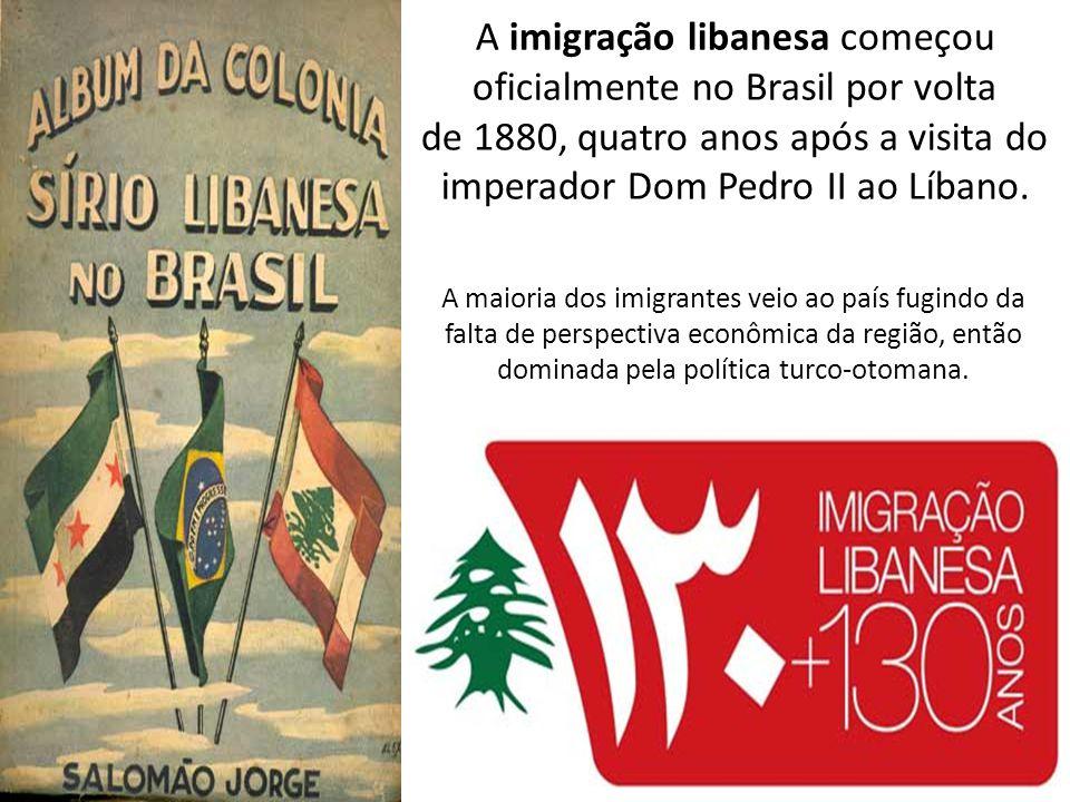 A imigração libanesa começou oficialmente no Brasil por volta de 1880, quatro anos após a visita do imperador Dom Pedro II ao Líbano.