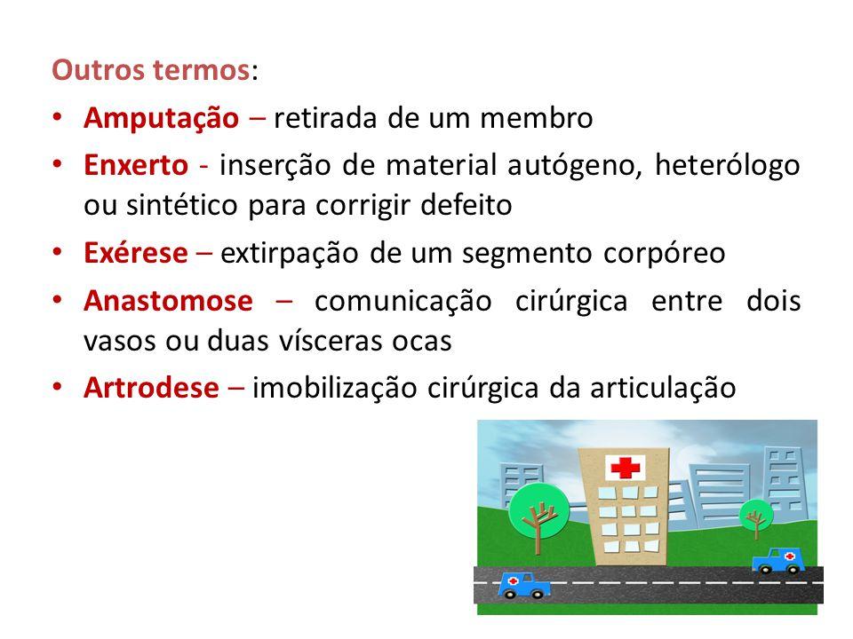 Outros termos: Amputação – retirada de um membro. Enxerto - inserção de material autógeno, heterólogo ou sintético para corrigir defeito.